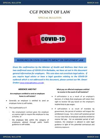Special News Bulletin  re. COVID-19
